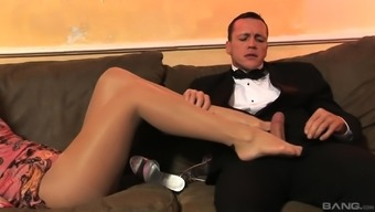 Busty Aletta Ocean uses her both your feet to create a guy's stab complicated