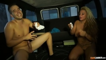 Soiled mom gets a mouthful of cum within a truck
