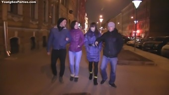 Radiant Russian teens getting fucked hardcore inside an sexual foursome