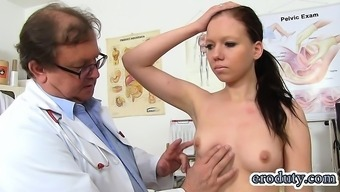 Blonde physician yawning with the use of cumshot