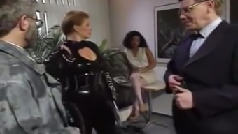 Short haired light colored black milf in latex body teases age man