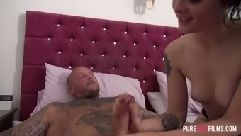 Tattooed playful girl Alessa Destructive gets woken right up by excited bf