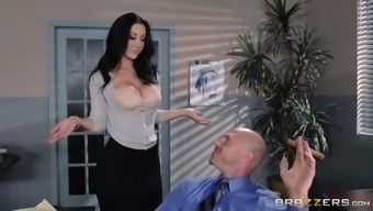 jayden jaymes whips out her tits and allow johnny homage and devotion those particular vast boobs