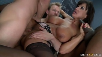 lisa ann gets three large cocks infiltrate her clit, stupid ass and mouth