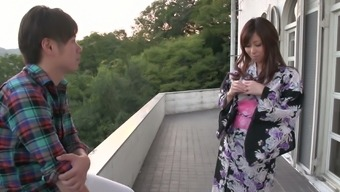 Sympathizing Japanese people splendor Chihiro Akino gives superior titjob to really stud