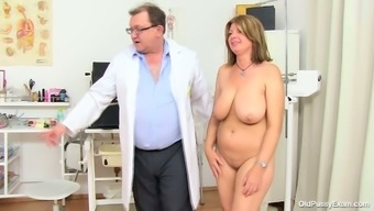Big beautiful woman mum Bohunka with huge genuine succulent holders gets her pussy lips stretched by untouched doc