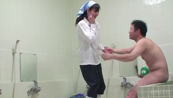 Japanese people professional cleaning woman gets pretty good pup form hammering