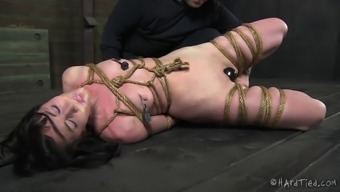 Lovely bondage cowgirl spanked and mocked in BDSM porn