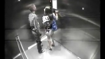 Couple fucks on safety and security cam in lift