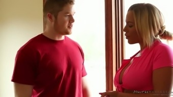 Boobalicious flaxen MILF Olivia Austin is gonna fuck that shy hunk after rubdown