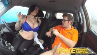 Countefeit Driving School big tits jailbird can take instructor on a wilderness cycle!
