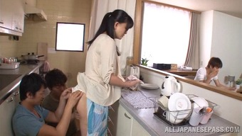 Sizzling cougar getting her pussy smashed with the food prep