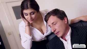BUMS BUERO - Busty A language like german counter fucks boss in the office
