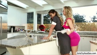 Lesbians trouncing pussy with the food prep