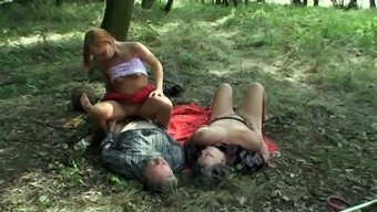 Outdoor trio along perverted granny and teenage