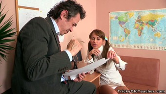 Cute blond academy krown by using pigtails tries to seduce her instructor