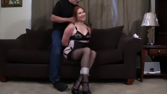 Gorgeous brunette bound and embarassed shamed disgraced upon the floor