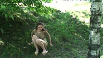 Cute youth love Masha reveals her pussy on camcorder close to the road