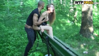Attractive Blond Gets Fucked Using a Community Park Bench