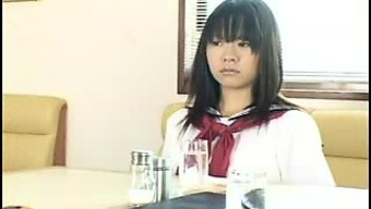Lovely Japanese people schoolgirl in white panties gets delighted