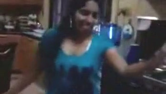 Dirty-minded shameless Indian blond flashes substantial titties with major nipples