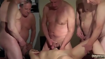OLD YOUNG Baby Gangbang along with grandpas the woman gets Dual fucked