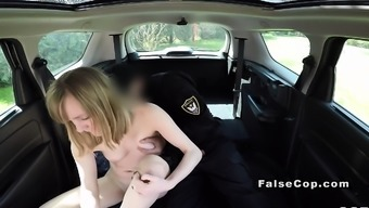 Worthless the police officer cracks black in his substantial car