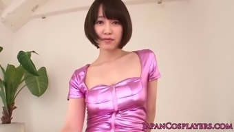 Petite Japanese dancer taken care of along with a dildo