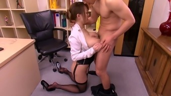 Desk slut with large Japanese people titties gets laid