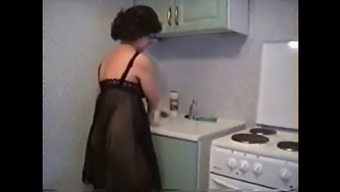 Youthful old home kitchen intercourse