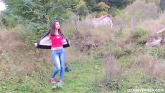 Extended haired teenager touching her bald take outdoor