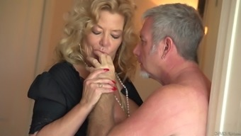 Naughty granny rubs her titties before being fucked inside a bed sex