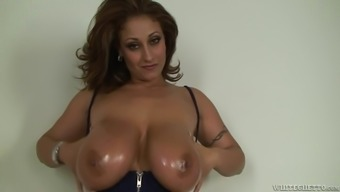 Huge-breasted mom gives a blowjob plus a titjob and gets facialed