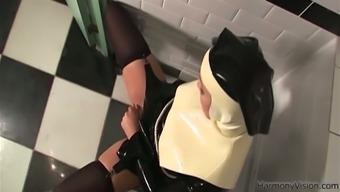 Misused nun fucks her shaved great pussy with the drink ribbed dildo