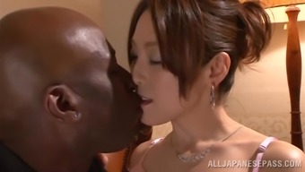 Japanese hussy gets her pussy stroked and broken through a black dude