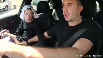 Slutty dark haired nun gives steamy serious your throat to her close friend in auto