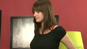 Bodacious dim haired hen tape on her first job interview