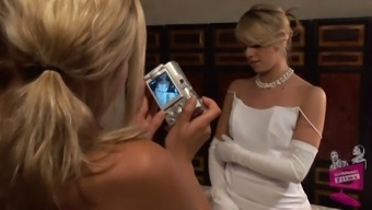 Lena Nicole seduces a shocking soon to be bride to get in a bridal dress