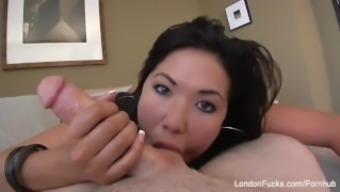 Big tits Asian London Keyes normally takes it inside the ass