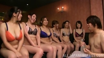 A massive number of Japanese people females have an orgy with a bloke