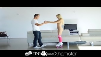Tiny4k Blond attractiveness Alex Ash great dick fuck and facial
