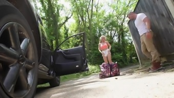 Major titties blond Alessandra Jane fucked outdoor and get a trip