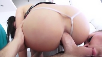 Sordid little girls touching a fortunate dude's dick and needing hard anal passage love-making