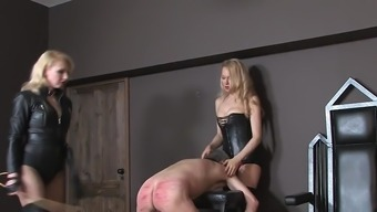 A couple of blond mistresses mixing male machine 01