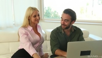 Sarah Vandella gives a stimulating footjob and actually has her twat pricked