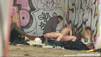 Genuine Street Life Homeless Threesome Having Sex on Masses