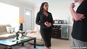 Horn-mad real estate property car dealership Priya Price begins stripteasing in front of consumer