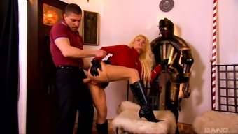 Being intimate with his blond babe's the company and grueling her tense butthole