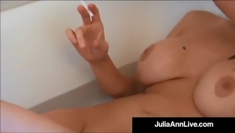 big tits blond milf julia ann smokes her cigs sopping in tub!