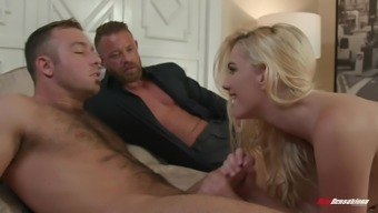 Desirable hottie Kenna James fucks with a friend in front of her boyfriend
